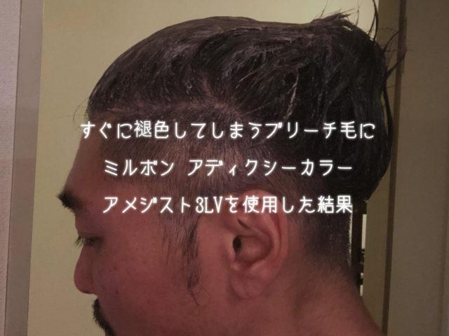 すぐに退色してしまうブリーチ毛にミルボン アディクシーカラー アメジスト3LVを使用した結果
